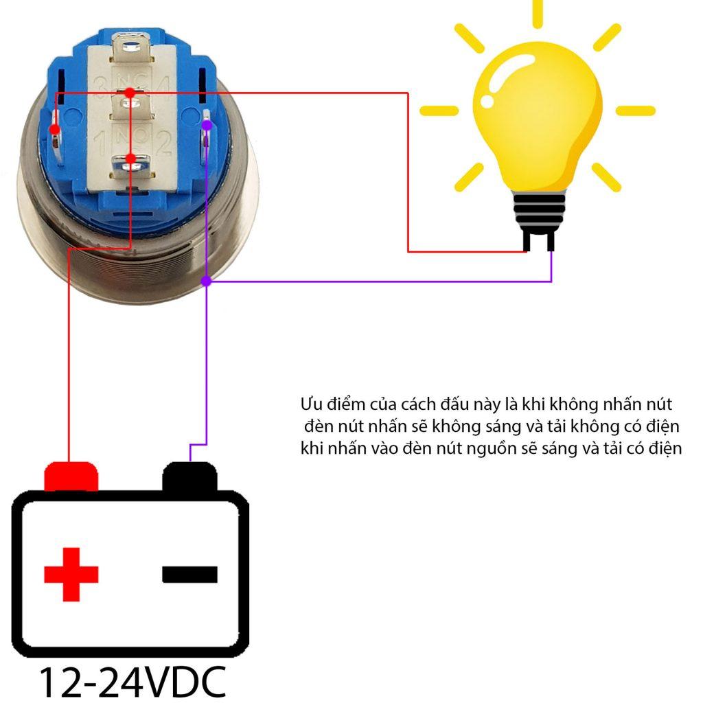 Sơ đồ đấu nối Nút nguồn kim loại 19mm