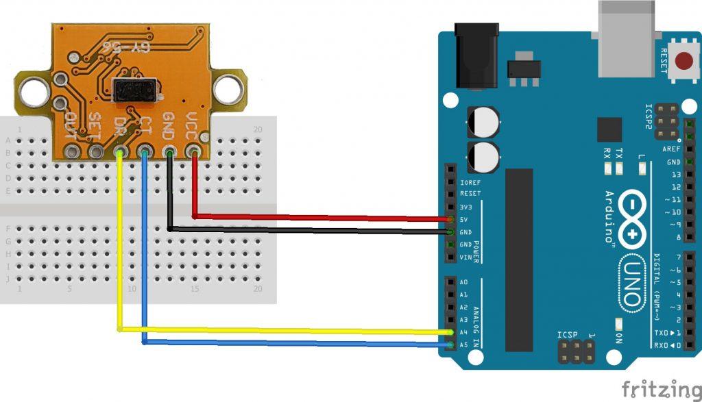 Sơ đồ kết nối Cảm biến khoảng cách laser GY-56 VL53L1X ToF Giao tiếp I2C