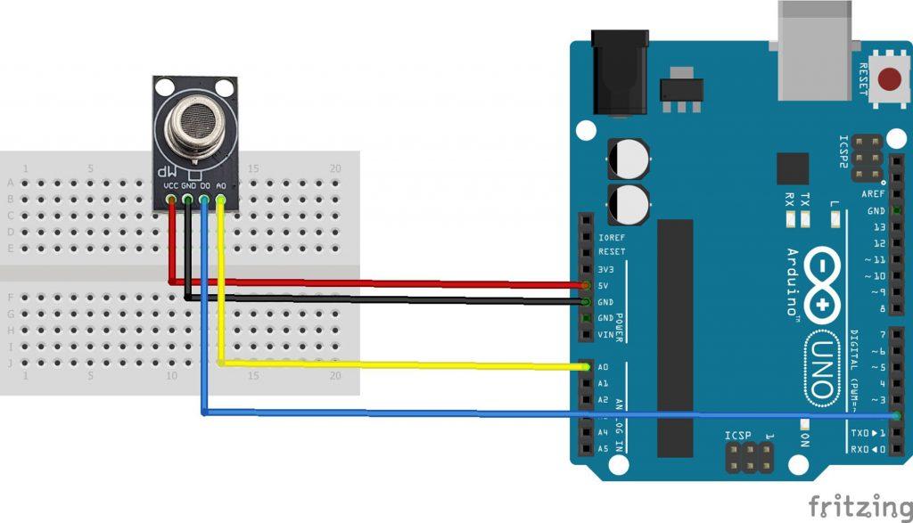Sơ đồ kết nối Cảm biến phát hiện khói MP-2