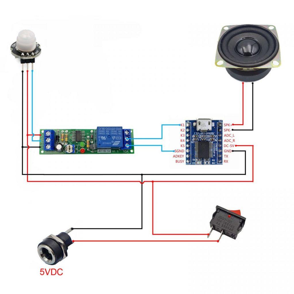 Sơ đồ kết nối của Combo tự chế bộ phát âm thanh tự động V2