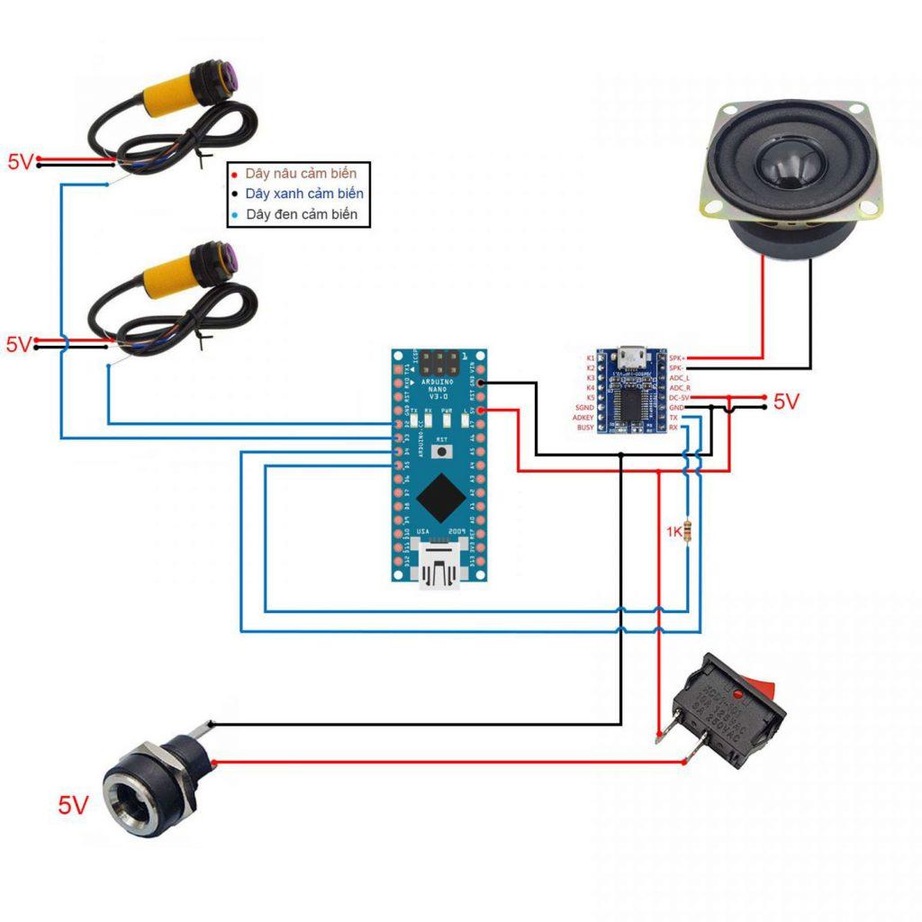Sơ đồ kết nối của Combo tự chế bộ phát âm thanh tự động V3