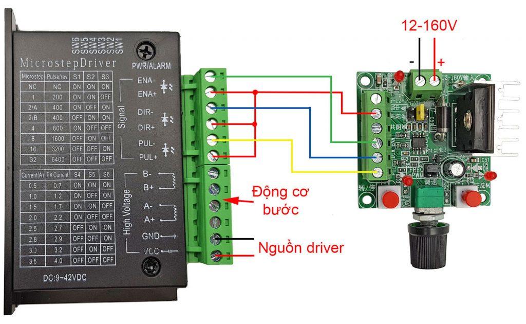 Sơ đồ kết nối dương chung Mạch tạo xung điều khiển driver động cơ bước 2SC5200