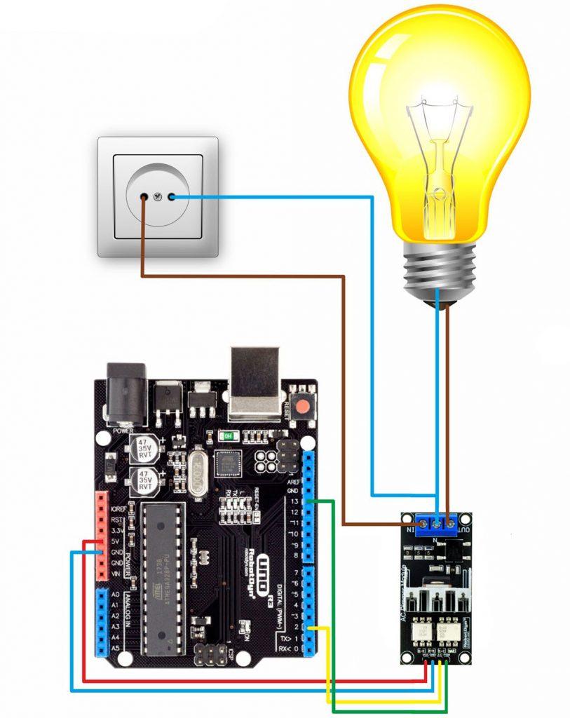 Sơ đồ kết nối Module dimmer AC 8A 1 kênh