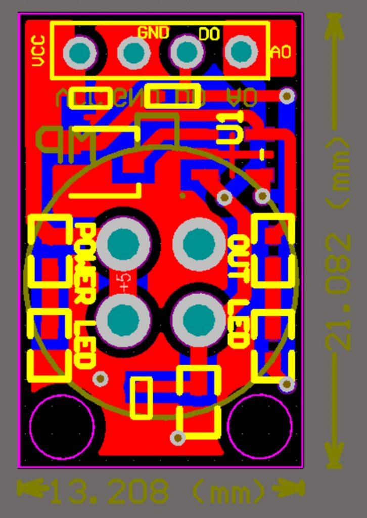 Sơ đồ mạch và kích thước Cảm biến chất lượng không khí MP-135