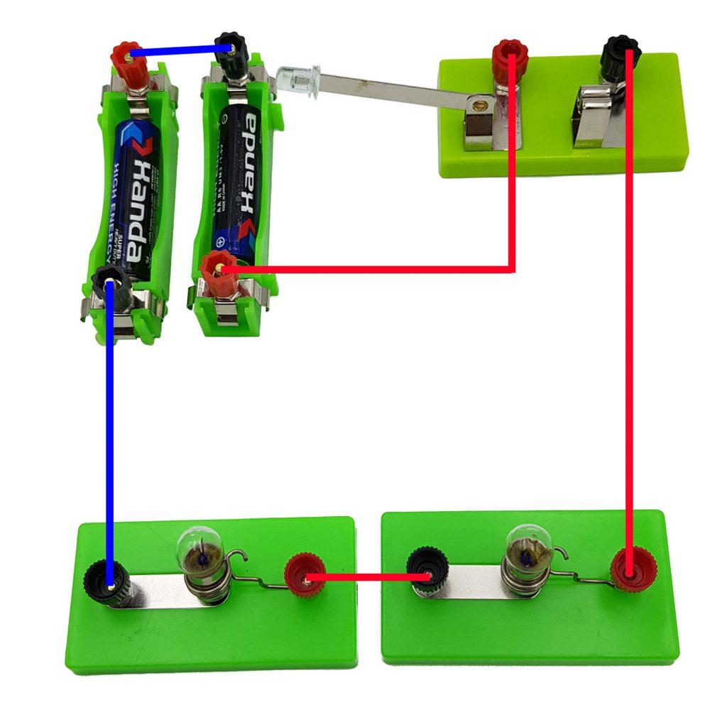 1 kiểu hình dung khác của mạch nối tiếp 2 pin và nối tiếp 2 bóng