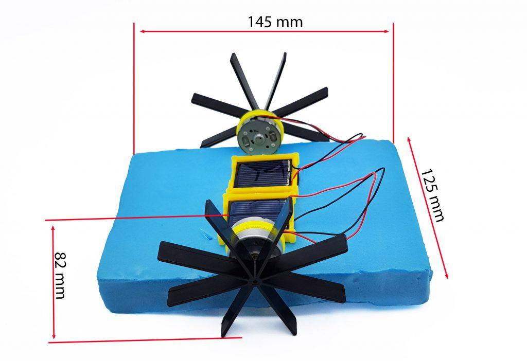 Kích thước bộ mô hình thuyền chạy năng lượng mặt trời