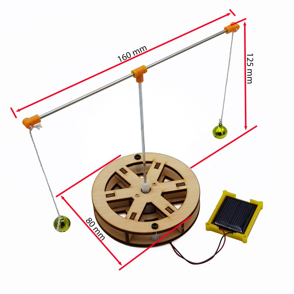 Kích thước bộ tự ráp chuông xoay chạy bằng năng lượng mặt trời