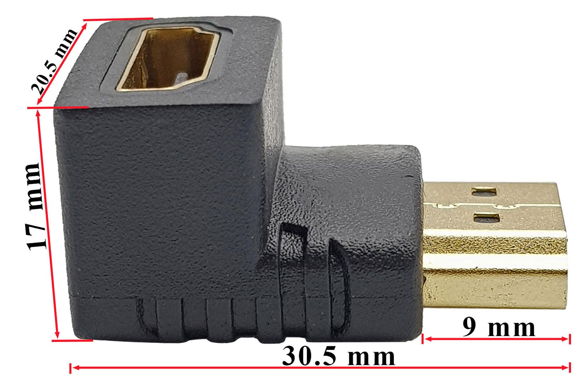 Kích thước Đầu nối HDMI sang HDMI vuông góc