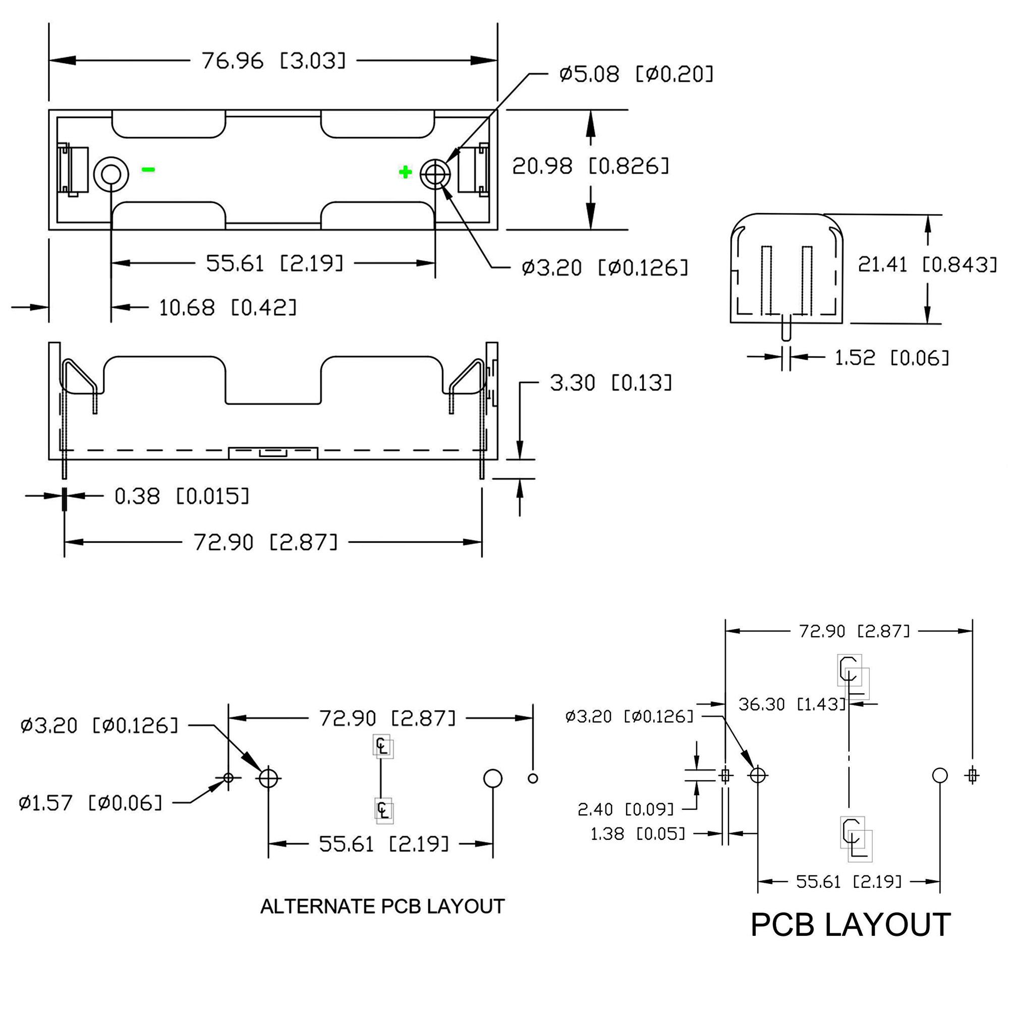 Kích thước Đế 1 Pin 18650 Hàn PCB