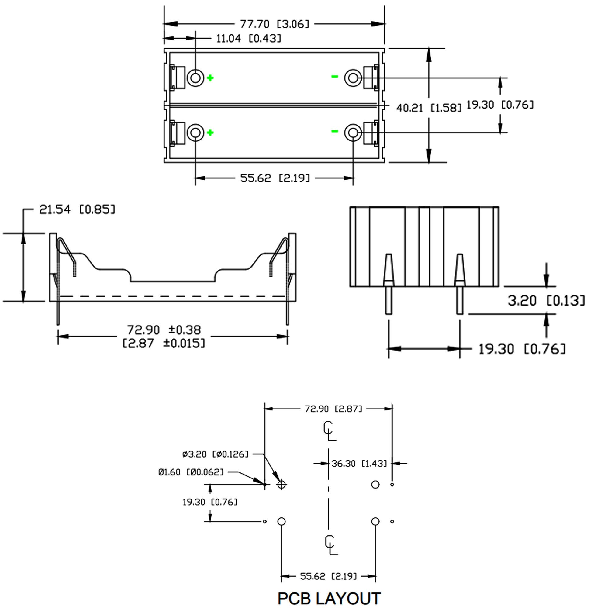 Kích thước Đế 2 Pin 18650 Hàn PCB