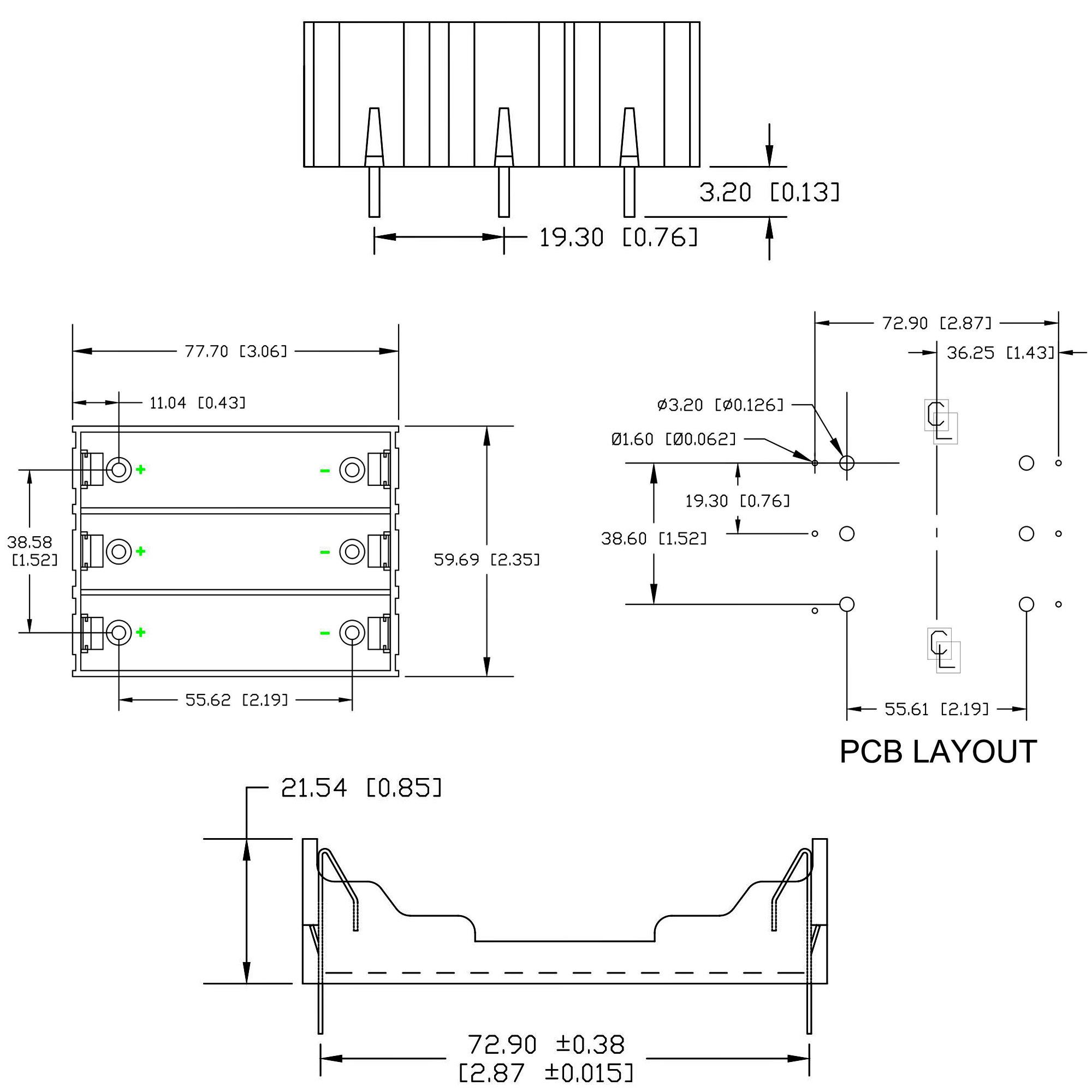 Kích thước Đế 3 Pin 18650 Hàn PCB