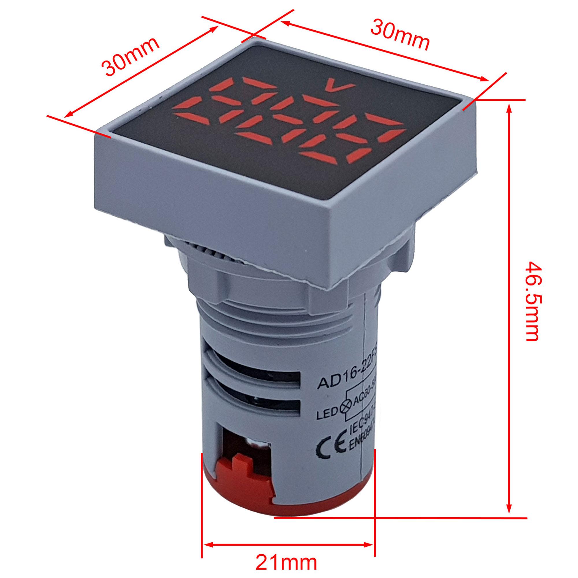 Kích thước Đồng hồ đo điện áp AC 20-500V màu đỏ