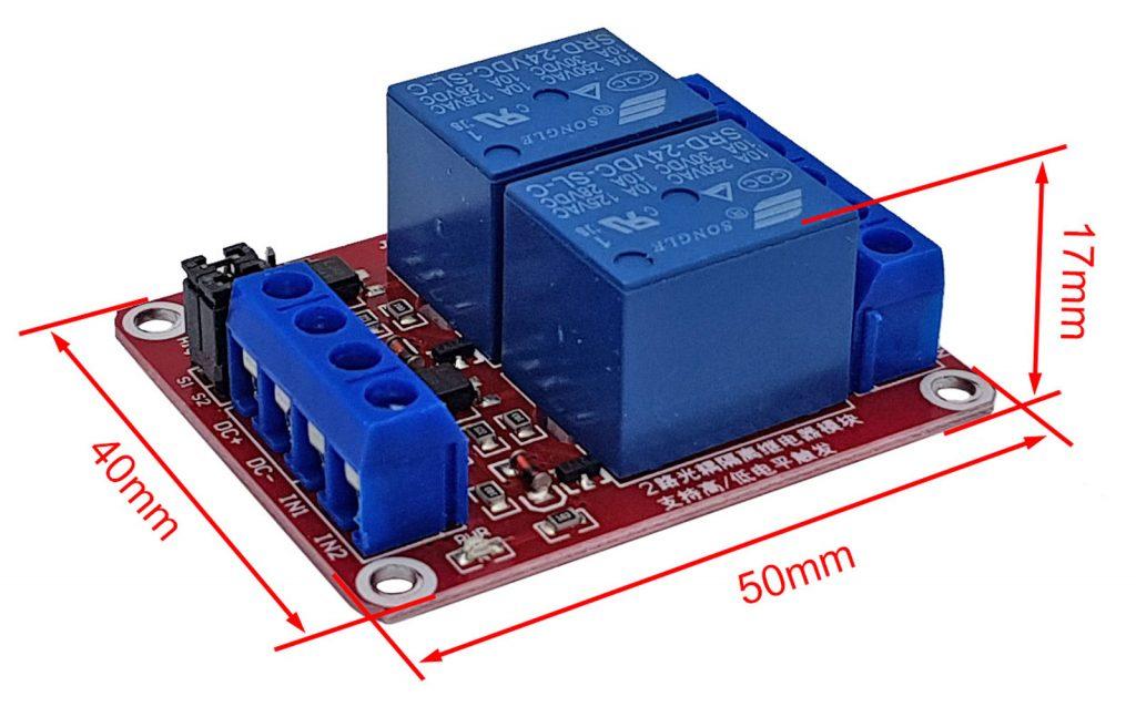 Kích thước Module 2 relay với opto cách ly kích H/L 24VDC 10A