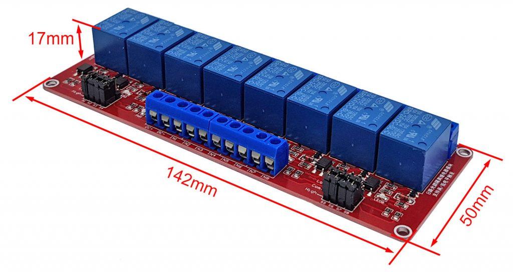 Kích thước Module 8 relay với opto cách ly kích H/L 24VDC 10A