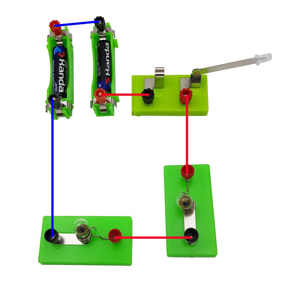 Mạch điện đấu nối tiếp 2 pin và 2 đèn
