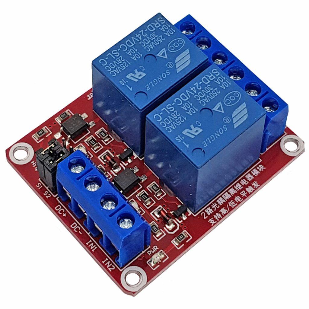 Module 2 relay với opto cách ly kích H/L 24VDC 10A