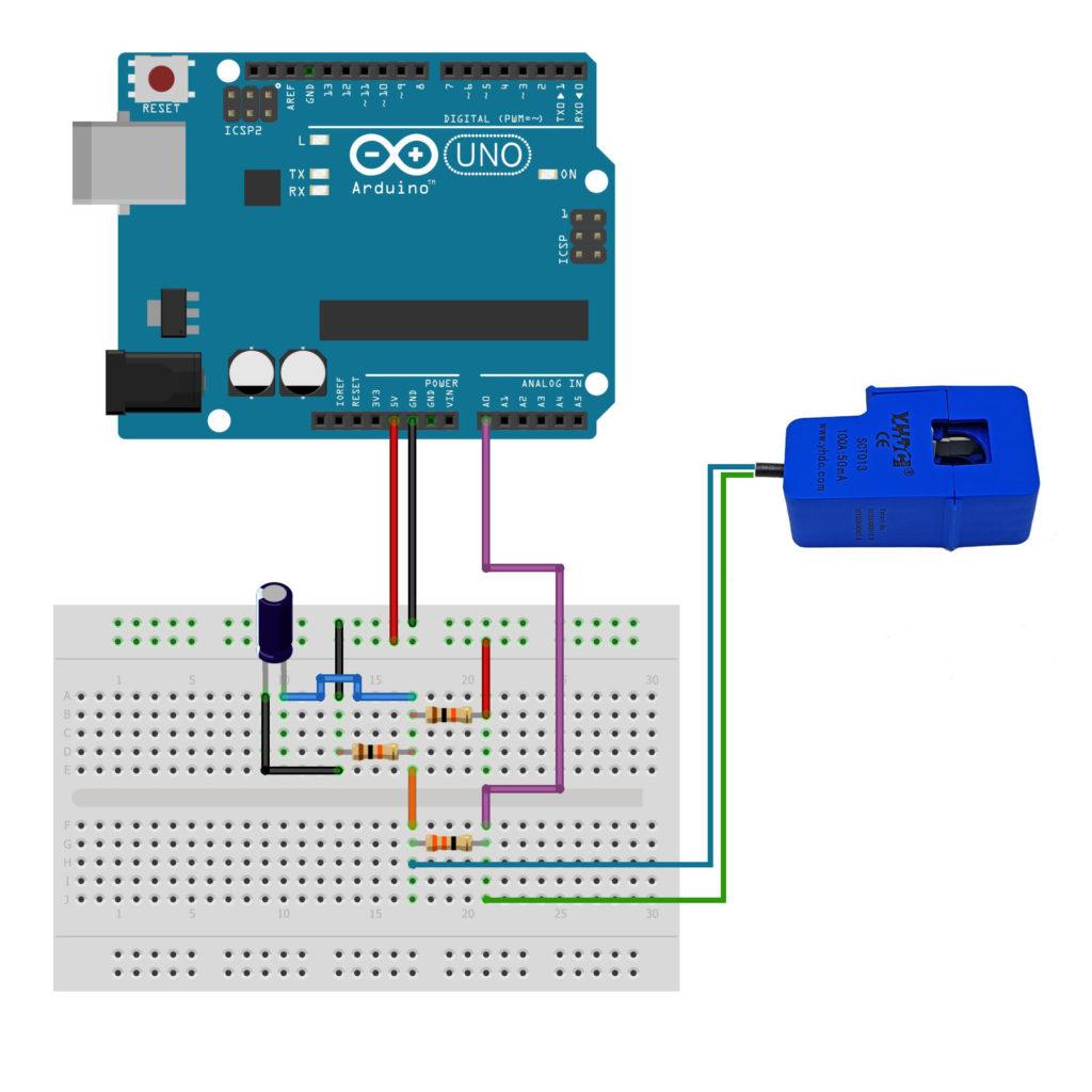 Sơ đồ kết nối cảm biến dòng điện hall SCT-013 100A với Arduino Uno