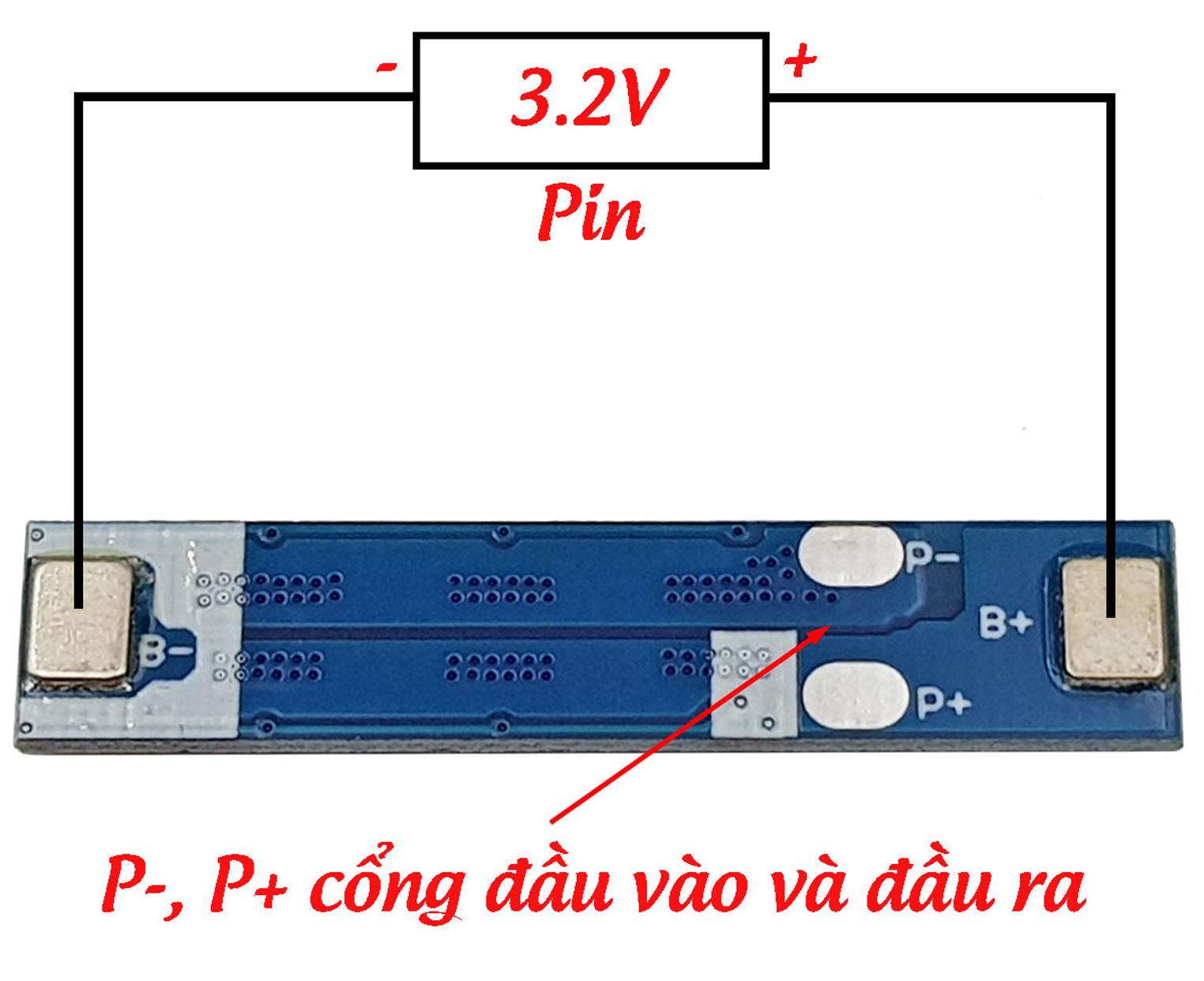 Sơ đồ kết nối Mạch sạc và bảo vệ pin 1S 3.2V